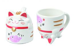 Cat Mug Pink 8.5x9.8cm 350ml