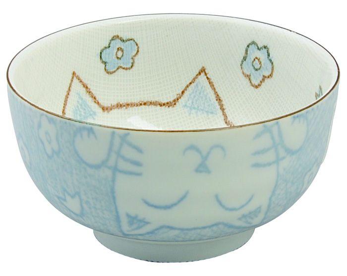 Kawaii bowl Cat Blue12.7x7cm