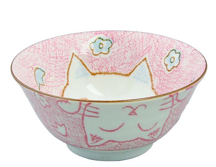 Kawaii Bowl Cat Pink 15.3x8cm 500ml