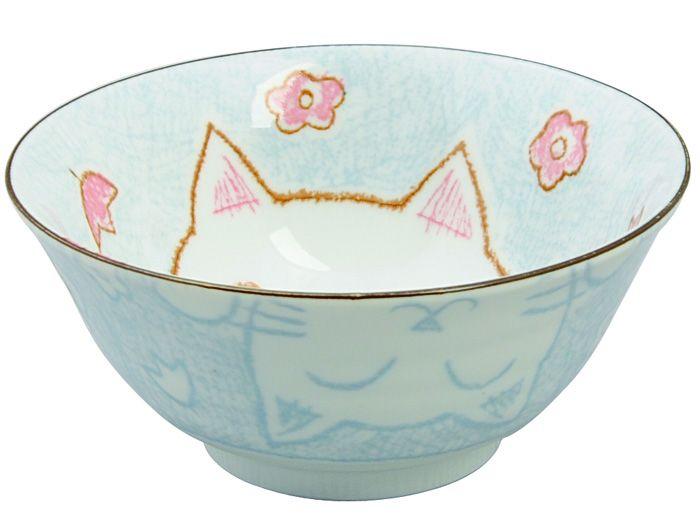 Kawaii Bowl Cat Blue 15.3x8cm 500ml
