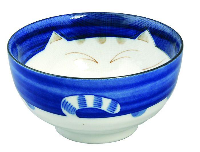 Kawaii Bowl Cat Blue 16cm 800ml