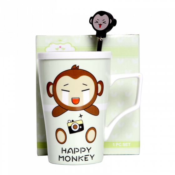 Cup set monkey w/spoon