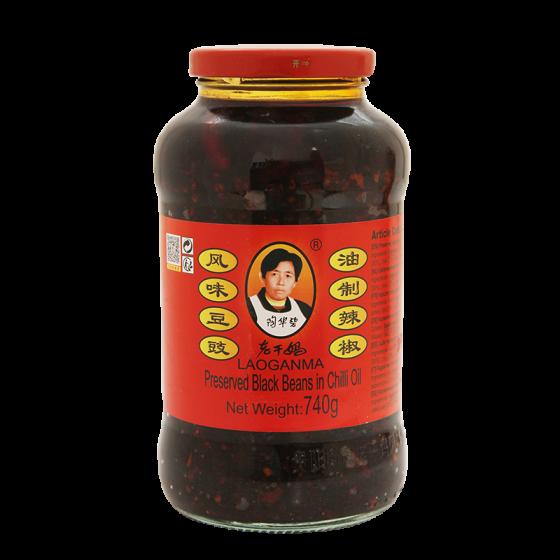 preserved black beans in chilli oil 740gr
