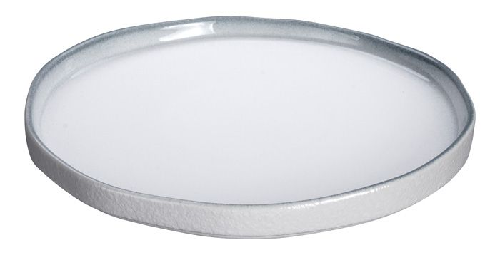 White Grey Rim Plate 22.8cm          C