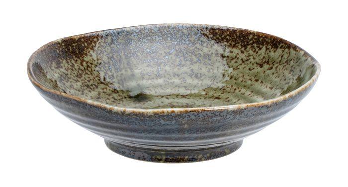 Shinryoku Green Shallow Bowl 17x4.9cmh