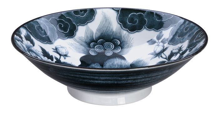 Lion Peony Menbachi Bowl Black 25.2x7.7cm