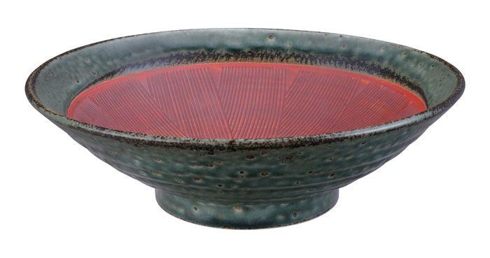 Noodle Bowl Wabi Uguisu Red 24.5x7.5cm